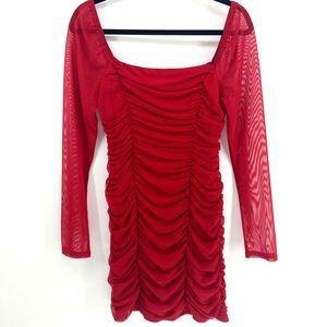 Leith Ruched Long Sleeve Body-Con Minidress
